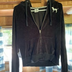 Victoria secret PINK velvet zipper sweatshirt